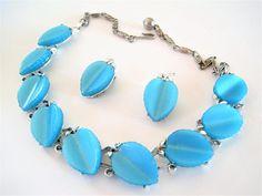 Aqua Lucite Necklace Set Signed Lisner Blue Lucite Mid