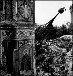 Robert Capa © International Center of Photography USSR. Kiev. 1947. Destroyed monastery on cliffs above Dnieper river.
