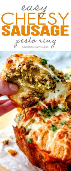 Easy Cheesy Sausage Pesto Ring is SO ADDICTING! my husband and I couldn't stop eating it and then I was craving it for days! You have to make this!!! The absolutely best holiday or game day appetizer!