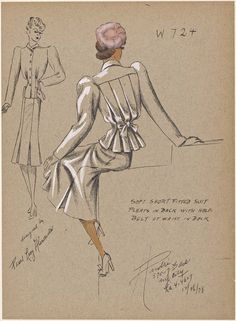 One of hundreds of thousands of free digital items from The New York Public Library. Dress Sketches, Fashion Sketches, Historical Costume, Historical Clothing, Fashion Illustration Vintage, Fashion Illustrations, Fitted Suit, Antique Clothing, Drawing Clothes