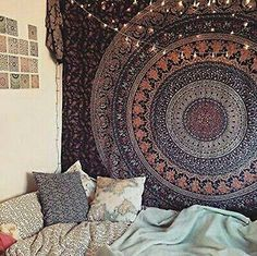 Cozy, bohemian teen room. Mandela wall tapestry  and fairy lights.