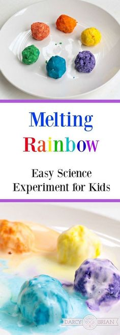 Love this easy science experiment idea for kids! Melting rainbows is a simple science activity that uses common household ingredients and is quick and easy to set up. It's the perfect project for preschool and kindergarten children! Science Experiments For Preschoolers, Science For Kids, Science Fun, Summer Science, Chemistry Experiments, Physical Science, Earth Science, Science Chemistry, Science Lessons