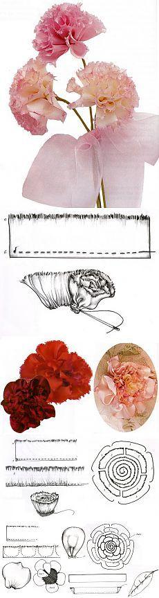 Гвоздика и пион / Цветы из лент и ткани / В рукоделии