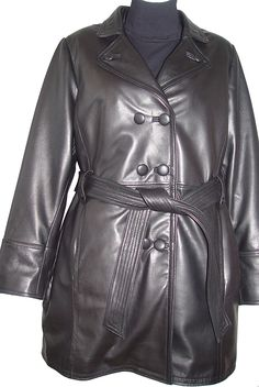 Johnnyblue Size 1X Classic Leather Trench Coats Womens Business Clothing *** Tried it! Love it! Click the image. : Plus size coats
