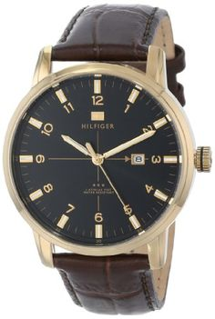 Tommy Hilfiger Men's 1710329 Casual Sport 3-Hand Brown Croco Leather Strap and Gold-Plated Case Watch $70.59 (44% OFF)
