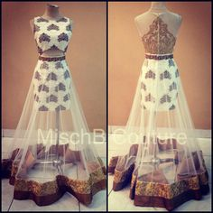 Engagement Fusion indian wear by MischB Couture. Fill bottom with white instead of see through Indian Attire, Indian Ethnic Wear, Indian Dresses, Indian Outfits, Elie Saab, Desi Clothes, Indian Clothes, Lehenga Designs, Indian Couture