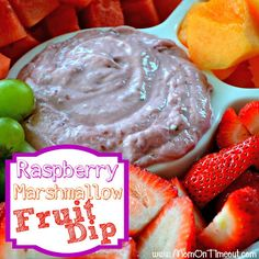 Raspberry Marshmallow Fruit Dip | MomOnTimeout.com #fruit #dip