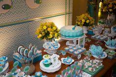 mesa do chá de bebê peixinho