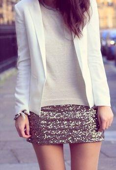 Sequin mini+white T+white blazer