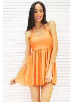 Backless Neon Orange Dress $49.99