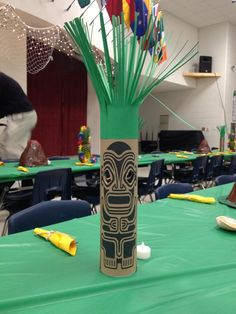 Tiki god for Blue & Gold Banquet luau theme. Made from mailing tube, card stock, and kraft paper. A multi-colored battery-operated tea light will go inside to illuminate the eyes. #luau #decorations #partyideas