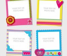 Funny photo frame vectors set 03
