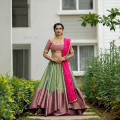Want to shop traditional pattu half sarees at the best price online? Do check out this brand's collection. Lehenga Saree Design, Half Saree Lehenga, Lehnga Dress, Saree Look, Lehenga Designs, Saree Blouse Designs, Sarees, Pink Lehenga, Lehenga Blouse