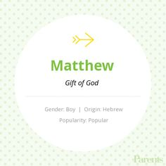 The name Matthew means: gift of the lord.   Names with ...