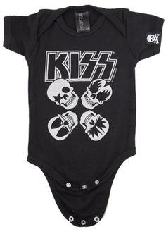 Kiss Skulls Black & Silver One Piece