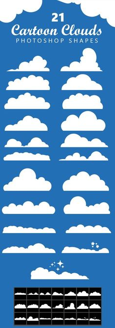 Buy 21 Cartoon Clouds Shapes by Sarthony on GraphicRiver. 21 Cartoon Clouds Shapes can be scaled and colored without any loss in quality. Adobe Photoshop, Photoshop Cloud, Photoshop Shapes, Creative Photoshop, Photoshop Brushes, Photoshop Actions, Photoshop Ideas, Cartoon Sun, Cartoon Clouds
