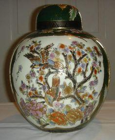 Oriental Vase Porcelain Satsuma Water Ginger Jar Asian Decor