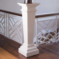 Shop the Remy French Country Ivory Wood Pedestal Table and other Plinths at Kathy Kuo Home Stair Railing Design, Staircase Railings, Banisters, Railing Ideas, Staircases, Staircase Makeover, Banister Remodel, Wood Pedestal, Colonial Williamsburg