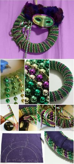 DIY: Mardi Gras beads wreath with mask. Another great use for beads! Mardi Gras Halloween Voodoo Masquerade Ball by bertha