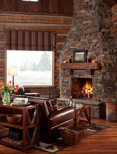 Beautiful rustic setting for this fireplace