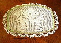 Ornate Lily Flower Doily - Handmade Vintage Style Crochet Art - Filet Crochet | RSSDesignsInFiber - Fiber Arts  ~~~~ This Lily Design is a White Spring theme -- maybe for Mother's Day!