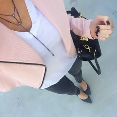 Pink Moto Jacket + White Tee + Kendra Scott Coby necklace + grey jeans + grey wedge pumps [@ontheDailyX]
