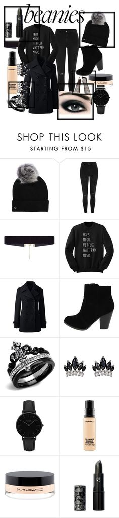 """Black Beanie bold"" by chandler-tiao ❤ liked on Polyvore featuring UGG, River Island, 8 Other Reasons, Lands' End, Fallon, CLUSE, Max Factor, MAC Cosmetics, Lipstick Queen and pompombeanie"
