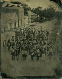 The Hempstead Rifles, a Volunteer Militia Company from Arkadelphia, Arkansas, with the Washington Band and Color Guard. Date 1861
