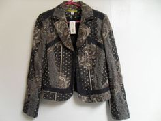 Acorn-Lined-Cotton-Blend-Black-Gold-Patterned-Blazer...O MY!!! GORGz!!!! pERRY