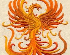 Embroidered Patch / applique - phoenix - sew , glue , or iron on 4 inch ANY COLORS