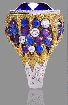 sapphire, diamond cocktail ring