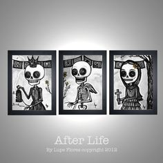 After Life Print Set Day of the Dead sugar by BlackWillowGallery