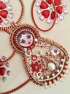 Fantasiria OOAK by Irina Krjukova. Matryoshka doll, Zipper and bead embroidery