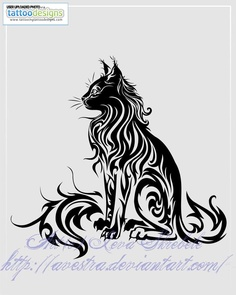 Higher Resolution Sitting Cat Tribal Tattoo Ii By Avestra - (just an idea..wouldn't want it so tribal)