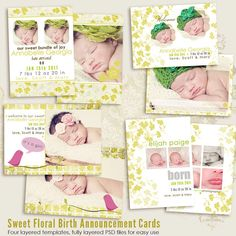 Sweet Floral Birth Announcement CARD templates by 7thavenuedesigns, $15.00