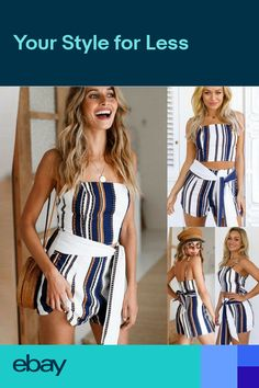 61d86e3f9eaa UK Womens Casual Strappy Striped Jumpsuit Ladies Summer Beach Mini Playsuit  Set