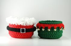 Christmas decor, Santa Claus crochet bowl, Santa's Elf candy bowl, set of 2 bowls, Christmas party, hostess gift, teacher gift, North Pole