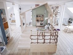 kids attic playroom / plywood kids house / bawialnia na poddaszu Attic Playroom, Kids House, Plywood, Anna, Loft, Interior Design, Bed, Furniture, Home Decor