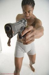 Man with Gun Pointing (buddy_scalera) Tags: photography photo gun power action muscle muscular rifle weapon pistol hero superhero foreshortening guns alexander shotgun handgun swords poses weapons reference jarrett posefile jarrettalexander