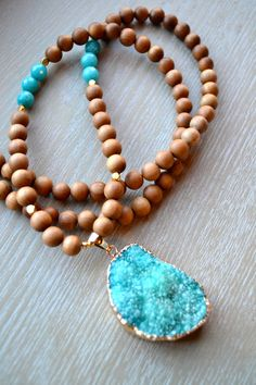 Long Sandalwood Wooden Beaded Necklace with by uniquebeadingbyme