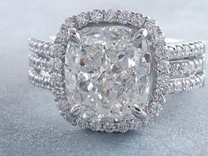 3.60 ctw Cushion Cut Diamond Engagement Ring H SI1. For sale for $20,990 on our website www.bigdiamondsusa.com or call us at 1-877-795-1101 for more information. #diamondring