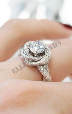 14K White Gold Over 2.50 Ct Diamond Round Cut White Lotus Flower Wedding Ring #ElleDiamonds #LotusFlowerRing #EngagementWeddingAnniversary
