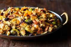 Butternut Squash, Brussels Sprout, and Bread Stuffing with Apples. Drop the nuts, quarter the sprouts, small cube bread, used chicken stock