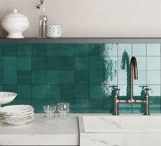 5309-120-TURQG Tile Kitchen Design, Kitchen Decor, Square Kitchen, Turquoise Kitchen, Outdoor Tiles, Feature Tiles, Kitchen Wall Tiles, Farmhouse Kitchen Cabinets, Interior Design Magazine