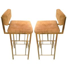 1970s French Brass Barstools (love the base, hate the fabric)