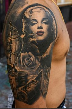 http://tattooideas247.com/marilyn-sleeve/ Marilyn Monroe Sleeve #Bg, #BryanRamirez, #Cash, #Floral, #MarilynMonroe, #Money, #Roses, #Sleeve