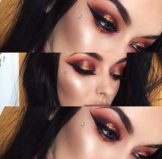 Red, orange, crimson glitter shiny, shine eyeshadow glittering makeup. Black winged eyeliner. Dark eyebrows.