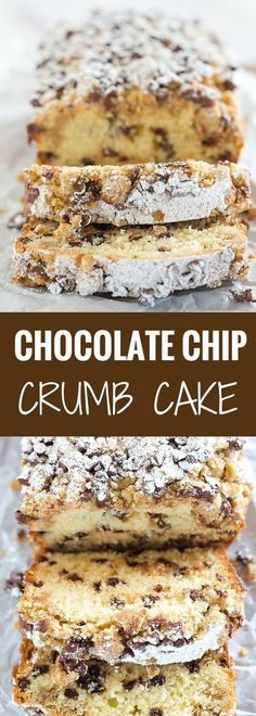This chocolate chip crumb cake is unbelievably tender, loaded with chocolate chips and topped with the most amazing crumb topping! by elinor