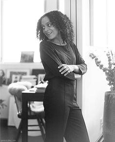 Samira in high-waisted black pants http://www.garancedore.fr/en/2013/10/28/samira/