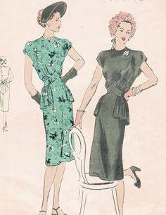 1940s Vogue 5643 Vintage Sewing Pattern Misses' One-Piece Dress Size 16 Bust 34